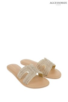 Accessorize Gold Bella Beaded Sliders
