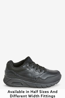 Black Elastic Lace Bubble Trainers (Older)