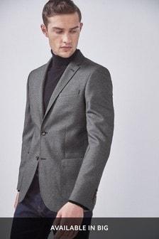 Light Grey Slim Fit Textured Blazer
