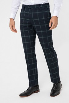 Green Tailored Fit Check Suit: Trousers