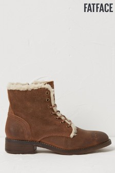 FatFace Brown Crosby Borg Lined Lace-Up Boots