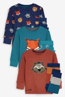 Autumnal 3 Pack Animal Snuggle Pyjamas (9mths-8yrs)