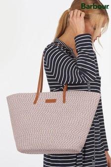 Barbour® Pink Braided Two Tone Straw Twist Beach Bag