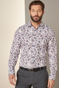White/Lavender Slim Fit Single Cuff Paisley Print Shirt with Trim Detail
