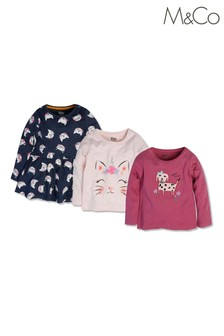 M&Co Cat And Dog Print Tops 3 Pack