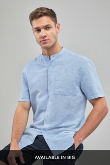 Blue Regular Fit Cotton/Linen Grandad Collar Shirt