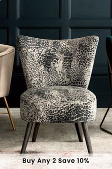 Opulent Velvet Leopard Ella Accent Chair With Black Legs