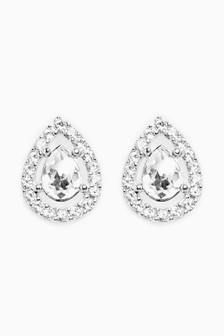 Sterling Silver Pavé Stud Earrings With Swarovski® Crystals