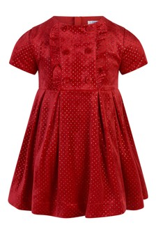Girls Red Spotted Glitter Dress