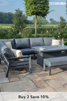 New York Corner Dining Set With Fire Pit Table By Maze Rattan