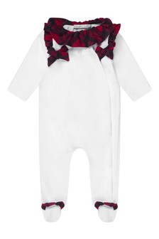 Girls White Velour & Tartan Babygrow