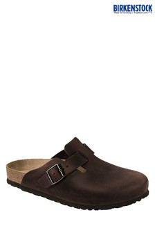 Birkenstock® Dark Brown Oiled Leather Clogs