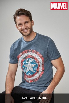 Blue Captain America Shield TV And Film Licence T-Shirt