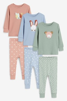 Pink/Green/Blue 3 Pack Character Snuggle Pyjamas (9mths-8yrs)