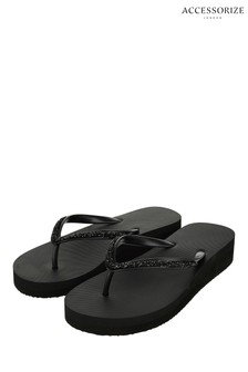 Accessorize Black Embellished Wedge Eva Flip Flops