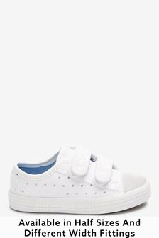 White Spot Standard Fit (F) Canvas Bumper Toe Trainers (Younger)