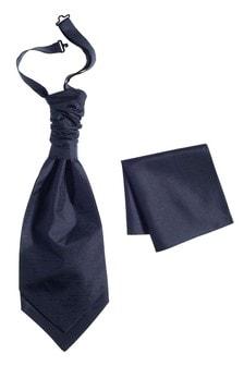 Navy Silk Cravat And Pocket Square Set