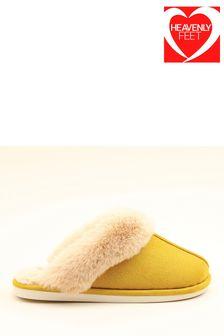 Heavenly Feet Yellow Ladies Comfort Slippers