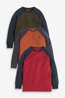 Multi 3 Pack Long Sleeve Raglan T-Shirts (3-16yrs)