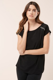 Black  Embellished Trim Top