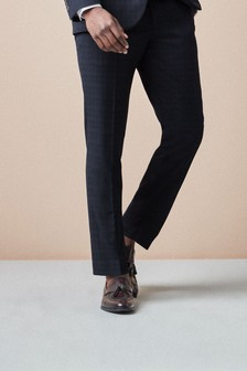 Navy/Black Super Skinny Fit Check Suit: Trousers