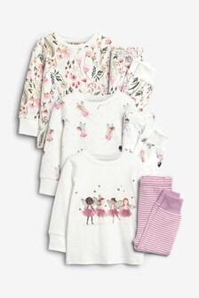 Ecru/Pink 3 Pack Fairy Pyjamas (9mths-8yrs)