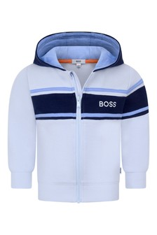 Baby Boys Pale Blue Cotton Zip-Up Top