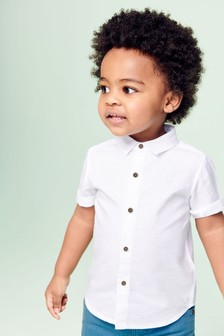 White Short Sleeve Linen Mix Shirt (3mths-7yrs)