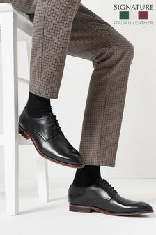 Black Signature Leather Plain Derby Shoes