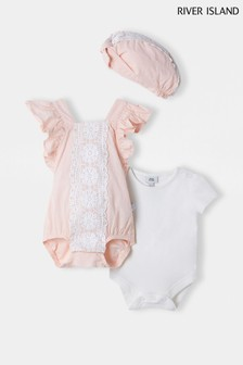 River Island Pink Light Frill Lace Romper Outfit