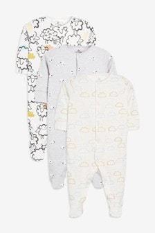 Ecru Sheep/Cloud Print Sleepsuits Three Pack (0mths-2yrs)
