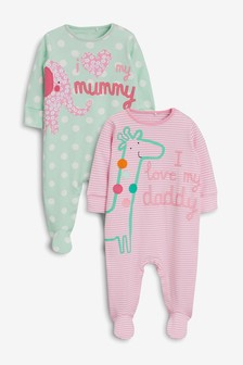 Pink/Mint Mummy & Daddy Character Sleepsuits Two Pack (0mths-2yrs)