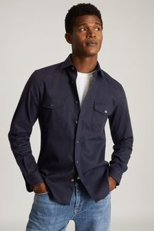 Reiss Blue Pricey Heavy Twill Twin Pocket Overshirt