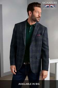 Blue Tailored Fit Tailored Fit Harris Tweed Signature Blazer