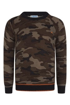 Boys Navy Camouflage Jumper