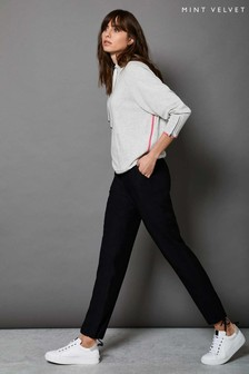 Mint Velvet Black Sporty Tie Waist Trousers