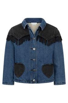 Girls Blue Denim Fringed Jacket