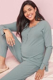 Blue Maternity/Nursing Ribbed Lounge Set
