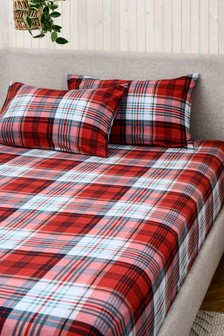 100% Brushed Cotton Red Check Fitted Sheet and Pillowcase Set
