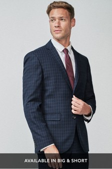 Navy Tailored Fit Wool Blend Check Suit: Jacket