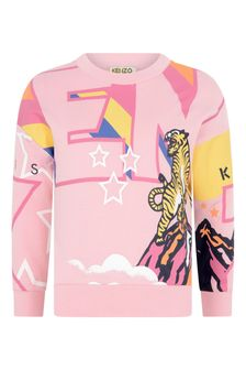 Girls Pink Tiger Cotton Logo Sweater