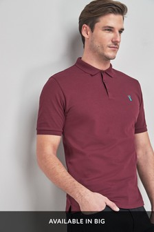 Burgundy Regular Fit Pique Poloshirt