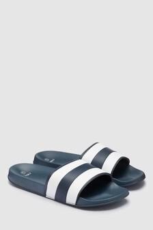 Navy Stripe Sliders