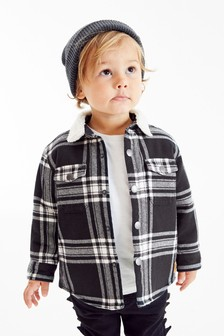 Monochrome Check Long Sleeve Borg Lined Shacket (3mths-7yrs)