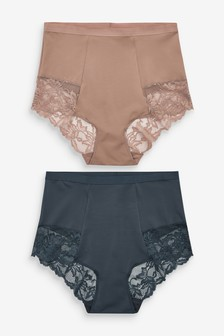 Navy/Taupe Shaping Lace Back Knickers Two Pack