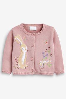 Pink Bunny Cardigan (0mths-2yrs)