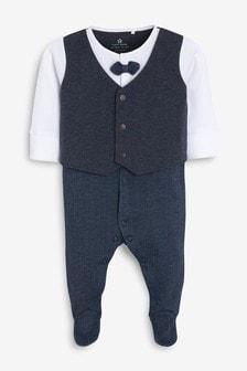 Navy Smart Bow Tie Sleepsuit (0mths-2yrs)