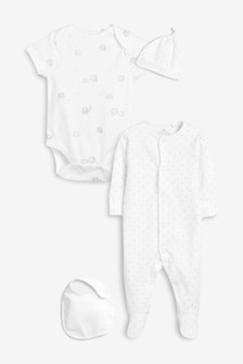 White Delicate Multi Print Four Piece Sleepsuit Set (0-6mths)