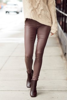 Mink Pull-On Coated Leggings