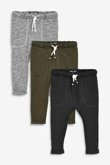 Khaki/Grey 3 Pack Lightweight Joggers (3mths-7yrs)
